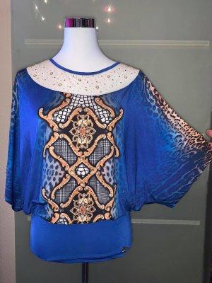 Tatu Bluse Tunika in gr M Farbe blau Vintage Still Strass Muster
