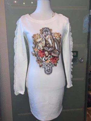 Tatu Kleid in gr L Farbe Weiß Vintage Still Strass Muster