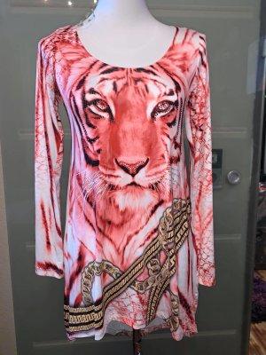 Tatu Tunika Long Bluse in gr M Leo Strass Vintage Farbe Coral Strech