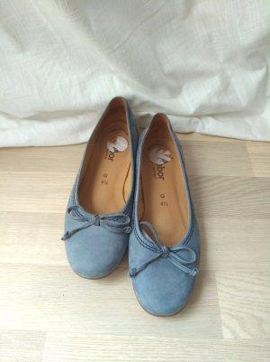 Taubenblaue Gabor Comfort Ballerinas aus Leder
