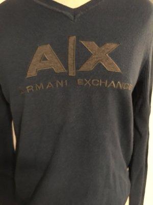 Armani Exchange V-Neck Sweater steel blue polyester
