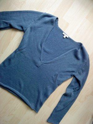 Basefield V-Neck Sweater steel blue cotton