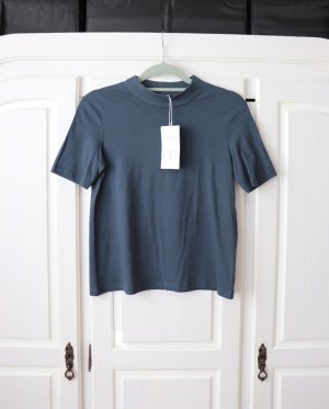 Taubenblaues Shirt von Zara Größe S mit Stehkragen