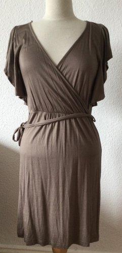 H&M Kopertowa sukienka taupe