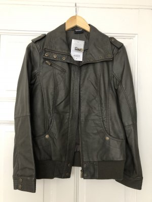 Colours of the World Leather Jacket taupe-grey brown