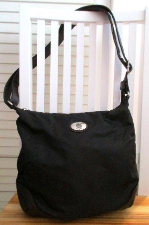 Tchibo Damen Schultertasche uni schwarz braun  mit