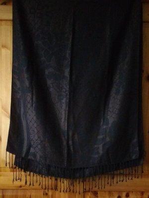 Tchibo Damentuch Damen Schal dunkelbraun schokobraun Muster gemustert Fransen