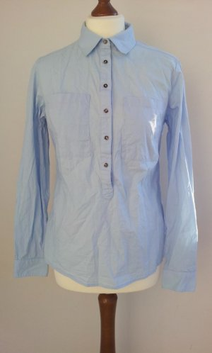 Tchibo Longbluse 36/38, Hellblau, halbe Knopfleiste große Taschen