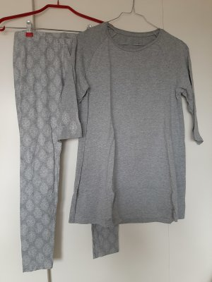 Body by Tchibo Pyjama light grey-white cotton