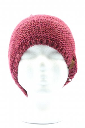 Tchibo / TCM Crochet Cap red-pink cable stitch casual look