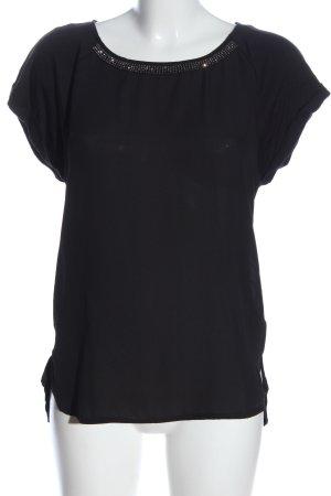 Tchibo / TCM Kurzarm-Bluse schwarz Casual-Look