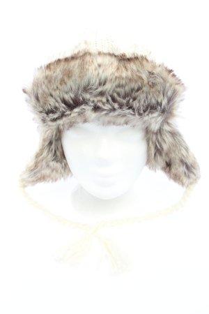 Tchibo / TCM Bonnet cache-oreilles blanc cassé-gris clair torsades