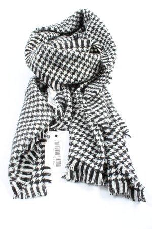 TCM Écharpe à franges noir-blanc motif à carreaux style décontracté