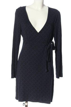 TCM Langarmkleid blau-schwarz abstraktes Muster Casual-Look