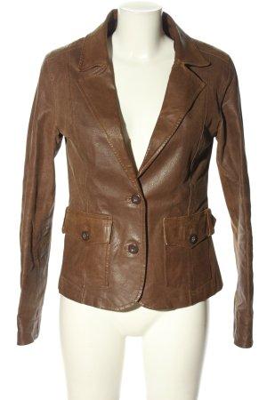 TCM Leren blazer bruin casual uitstraling