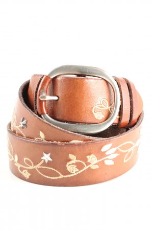 TCM Leather Belt light orange-cream flower pattern casual look