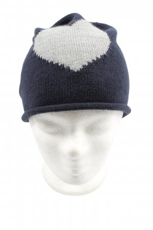 TCM Sombrero de punto azul-gris claro estampado temático look casual