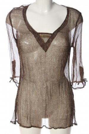 TCM Transparenz-Bluse braun-wollweiß abstraktes Muster Elegant