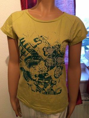 Techno H&M T-Shirt Psychedelic Wheels Print gelb silber Gr. 40