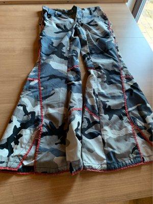 Pantalone a zampa d'elefante grigio chiaro-nero