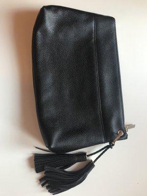 Ted Baker Clutch Kuvert Tasche Schwarz Leder Velour Neu NP 219€