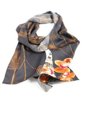 Ted baker Foulard noir-orange clair motif de fleur style décontracté