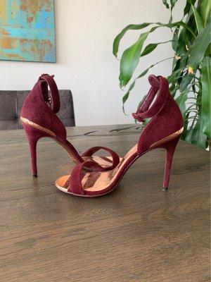 TED BAKER High Heels, Gr. 37, Leder, bordeauxrot!