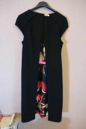 Ted Baker Kleid, geblümt, Blumen, schwarz, mit Gürtel, Rückenausschnitt, Etuikleid