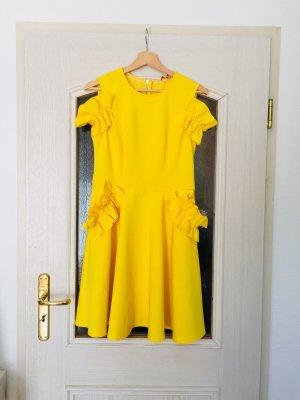 Ted Baker Kleid Rüschen Gelb Skater A-Linie