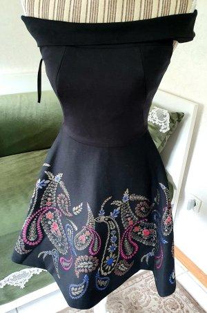 Ted Baker Kleid schwarz pink blau gold XS 0