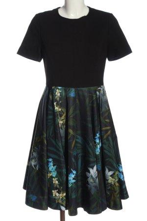 Ted baker Robe à manches courtes noir-vert motif de fleur élégant
