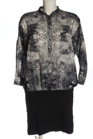 Ted baker Langarmkleid hellgrau-schwarz abstraktes Muster Casual-Look