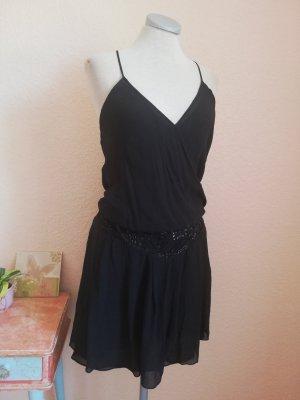 Ted Baker Seidenkleid Tunikakleid Seide Kleid Sommerkleid Gr. 4 Gr. 38 S M schwarz Charleston 20'er Jahre