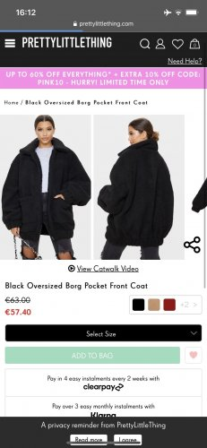 Pretty Little Thing Veste oversize noir