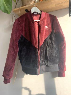 Adidas Giacca in eco pelliccia bordeaux-nero