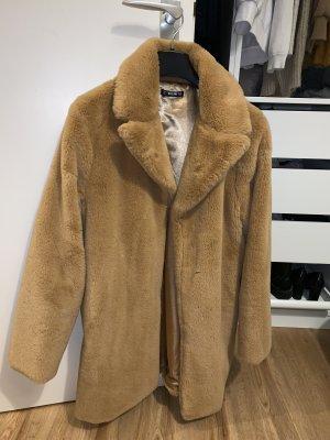 SheIn Cappotto in eco pelliccia color cammello-marrone chiaro