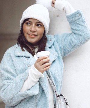 Giacca in eco pelliccia azzurro