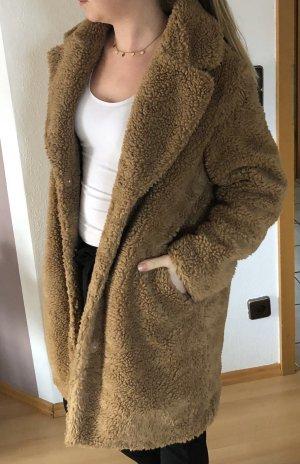 H&M Cappotto in pile marrone chiaro