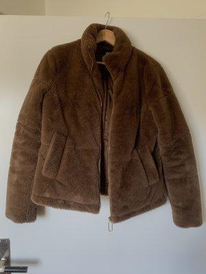 Zara Fake Fur Jacket bronze-colored