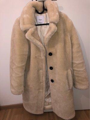 Mango Suit Cappotto in eco pelliccia crema
