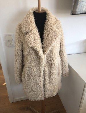 Pimkie Płaszcz ze sztucznym futrem kremowy