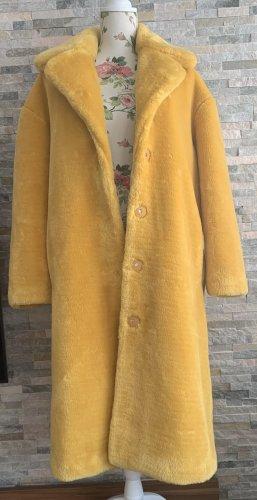 STAND STUDIO Płaszcz ze sztucznym futrem żółty