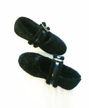 teddy schuhe • ballerinas • vintage • schwarz • boho • edgy