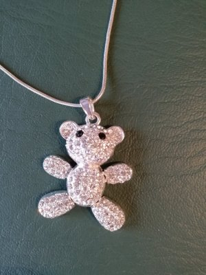 Teddybärenanhänger an längerer Kette, Zirkonia, beweglich. Süß