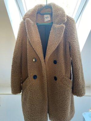 Zara Woman Fake Fur Jacket camel