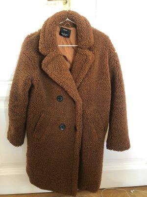 Bershka Fleece Coats brown