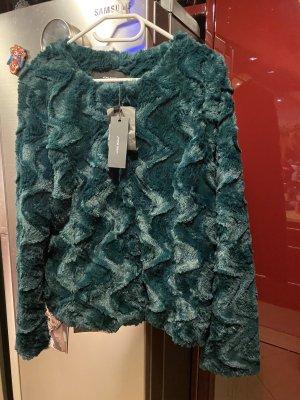 Vero Moda Kurtka ze sztucznym futrem ciemnozielony