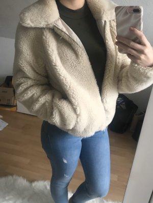 H&M Futrzana kurtka kremowy-w kolorze białej wełny