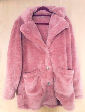TOPMELON Futrzana kurtka w kolorze różowego złota