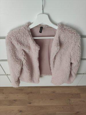 H&M Divided Veste en fausse fourrure rosé